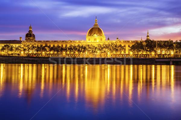 Ver Lyon pôr do sol edifício noite nascer do sol Foto stock © vwalakte