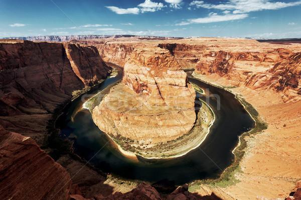 Híres patkó kanyar Utah USA víz Stock fotó © vwalakte