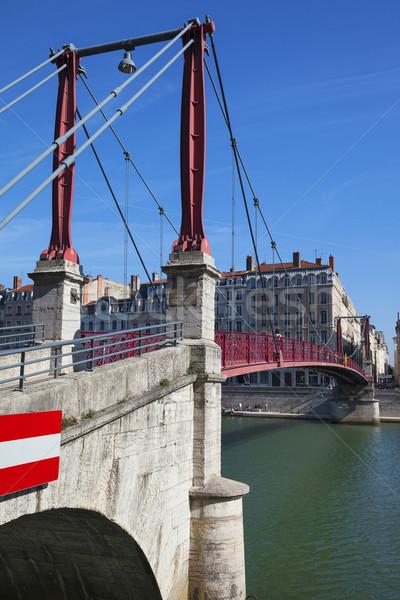 Lyon cidade vermelho passarela ver ponte Foto stock © vwalakte