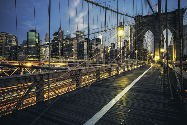 Brooklyn Bridge by night Stock photo © vwalakte