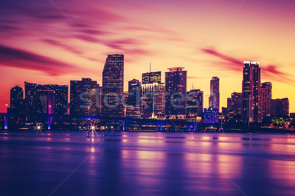 View of Miami at sunset, special photographic processing Stock photo © vwalakte