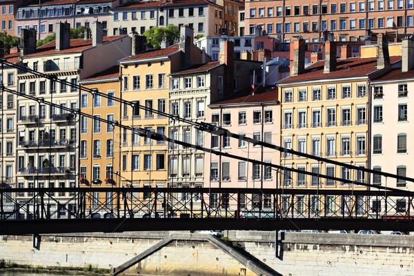 Lyon passarela edifícios quente tarde luz solar Foto stock © vwalakte