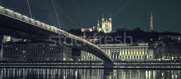 Lyon by night, special photographic processing Stock photo © vwalakte