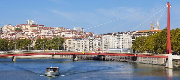Panorámakép kilátás Lyon folyó csónak Franciaország Stock fotó © vwalakte