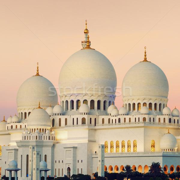 Kilátás Abu Dhabi mecset naplemente égbolt fa Stock fotó © vwalakte
