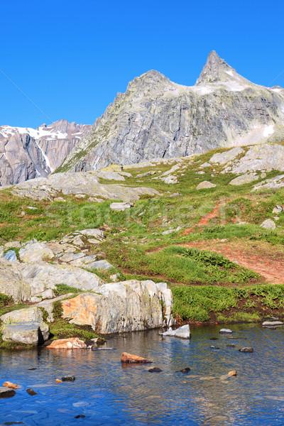 Elképesztő kilátás turisztikai nyom égbolt természet Stock fotó © vwalakte