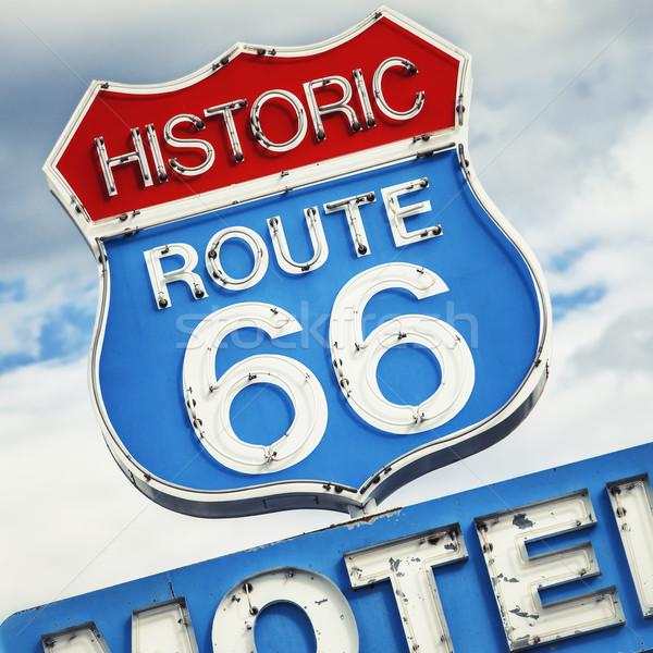 известный дороги мотель знак route 66 США Сток-фото © vwalakte