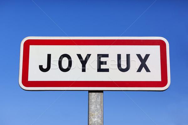 Kicsi falu felirat kék tábla Európa Stock fotó © vwalakte