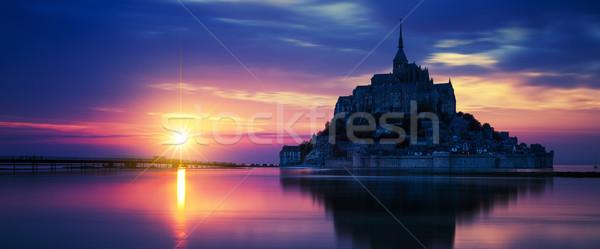 Panorámakép kilátás naplemente Franciaország templom utazás Stock fotó © vwalakte