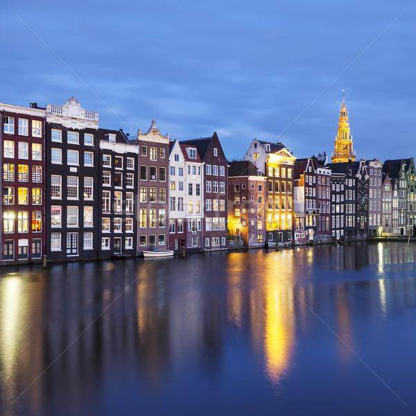 Edificios Amsterdam noche tradicional edad primavera Foto stock © vwalakte