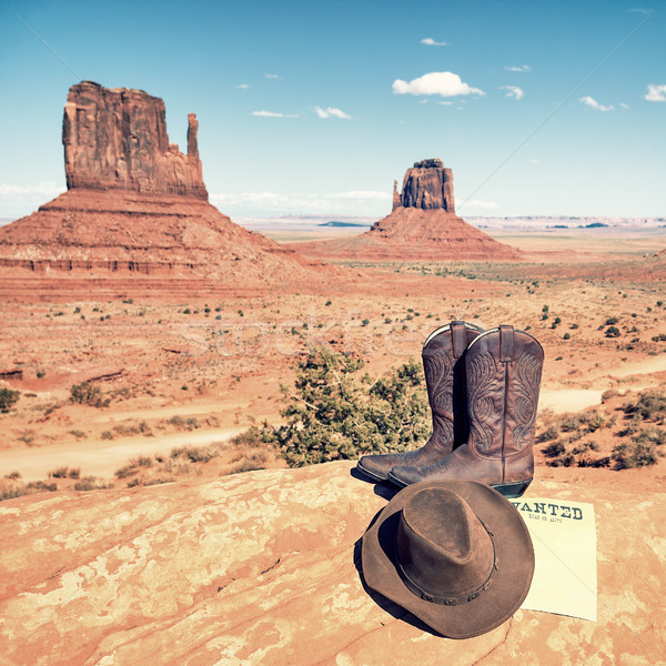 boots and hat at Monument Valley Stock photo © vwalakte