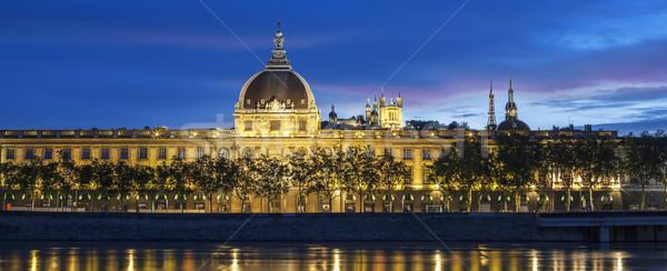 Panorâmico ver Lyon pôr do sol rio França Foto stock © vwalakte