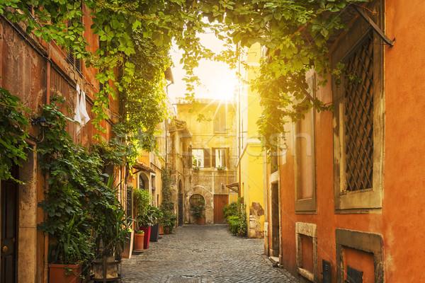 Old street in Trastevere in Rome Stock photo © vwalakte