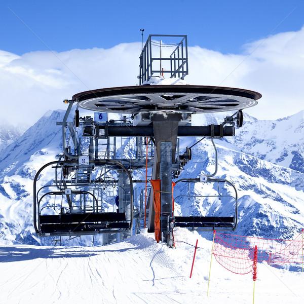 Ski chair-lift arrival Stock photo © vwalakte