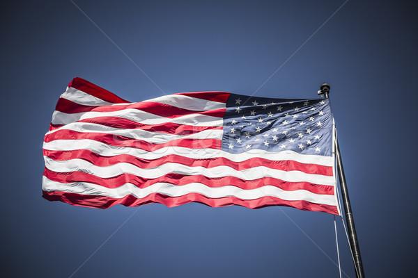 USA zászló amerikai zászló kék ég különleges égbolt Stock fotó © vwalakte