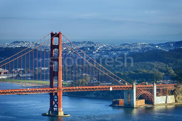 有名な ゴールデンゲートブリッジ タウン サンフランシスコ 空 水 ストックフォト © vwalakte
