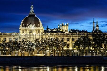 Kilátás Lyon naplemente folyó Franciaország különleges Stock fotó © vwalakte