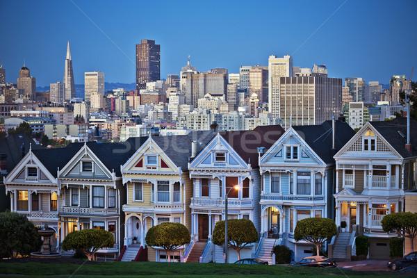 Foto stock: Pintado · damas · San · Francisco · California · sentarse