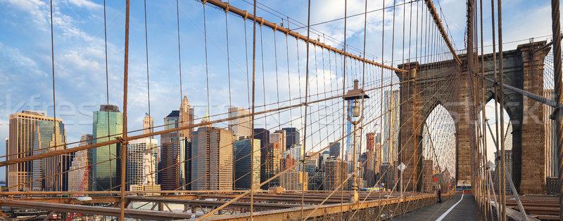 Panoramic view of Brooklyn Bridge Stock photo © vwalakte