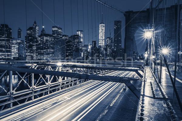 Brug nacht auto verkeer ny USA Stockfoto © vwalakte