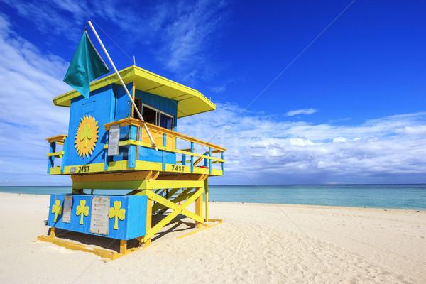 Майами пляж Флорида спасатель дома типичный Сток-фото © vwalakte
