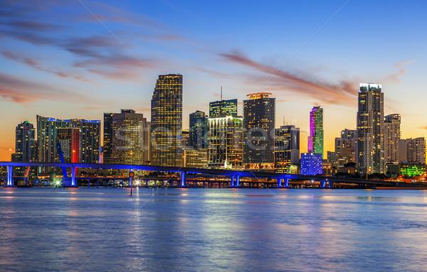 город Майами Флорида лет закат Панорама Сток-фото © vwalakte