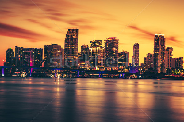 Stock photo: CIty of Miami at sunset
