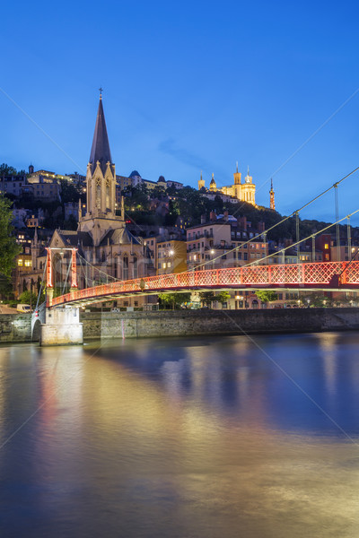 View of Lyon and red footbridge Stock photo © vwalakte
