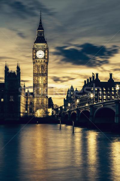 ビッグベン 精神 クロック 塔 ロンドン 日没 ストックフォト © vwalakte