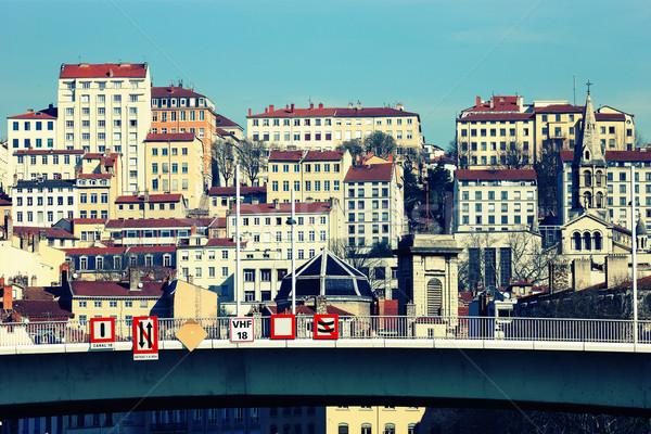 Città Lione Francia costruzione ponte blu Foto d'archivio © vwalakte