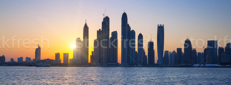 Panoramic view of Dubai at sunrise Stock photo © vwalakte