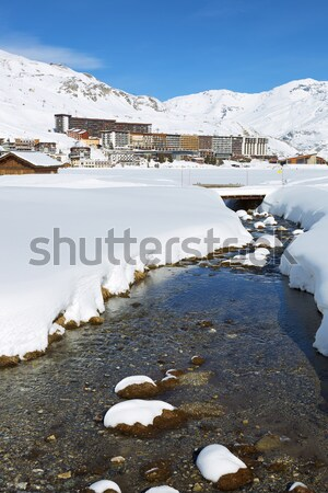 Tignes village with footbridge Stock photo © vwalakte