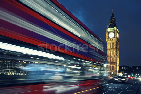 Big Ben and bus by night Stock photo © vwalakte
