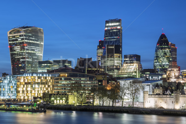 Cityscape of London at night Stock photo © vwalakte