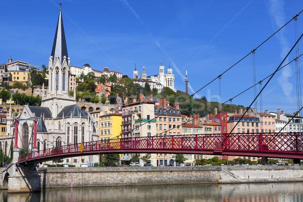 Vista Lyon ciudad rojo puente peatonal río Foto stock © vwalakte