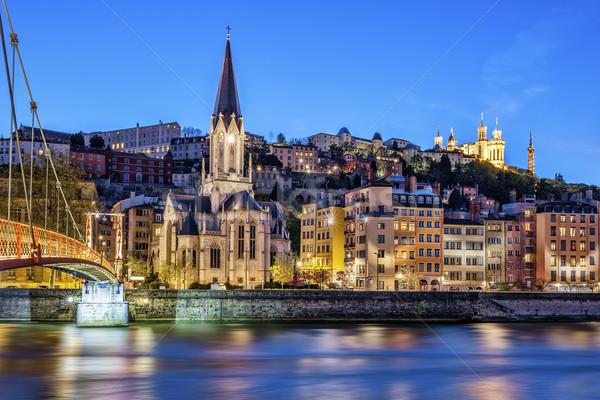 Híres kilátás Lyon folyó éjszaka épület Stock fotó © vwalakte