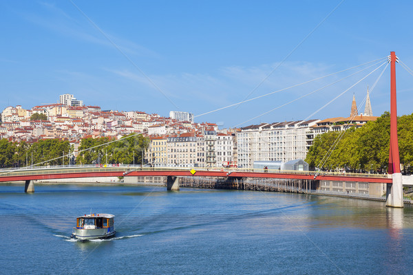 Lyon rio barco ver França céu Foto stock © vwalakte