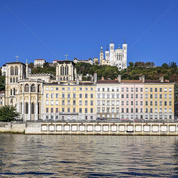 Kilátás Lyon városkép város híres bazilika Stock fotó © vwalakte
