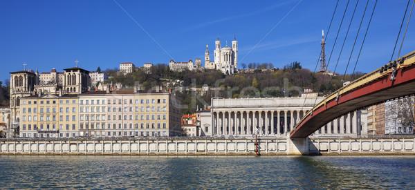 Panorámakép kilátás Lyon folyó Franciaország Európa Stock fotó © vwalakte