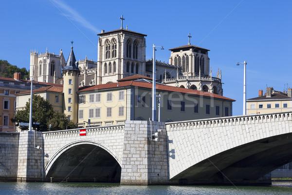 Kilátás Lyon híd híres folyó katedrális Stock fotó © vwalakte