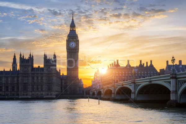 Photo stock: Célèbre · Big · Ben · coucher · du · soleil · horloge · tour · Londres