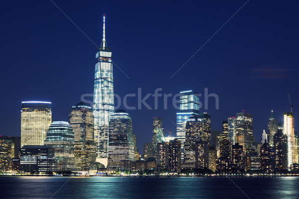 Manhattan horizonte anochecer Nueva York Estados Unidos azul Foto stock © vwalakte
