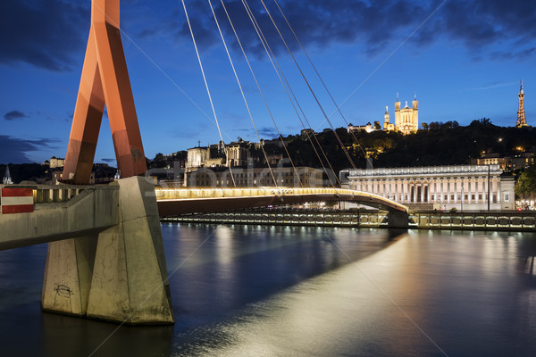 View of Saone river by night Stock photo © vwalakte