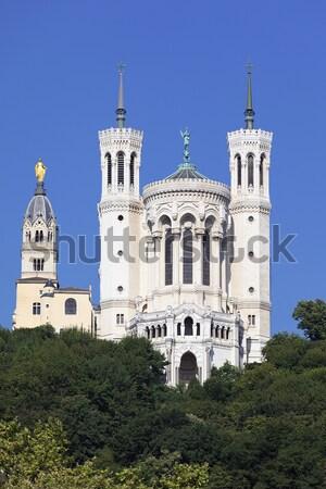 Bazilika kék ég elöl Lyon épület építkezés Stock fotó © vwalakte