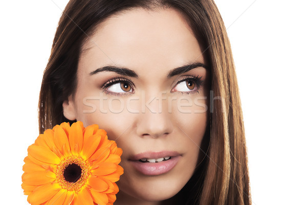woman portrait with orange flower Stock photo © vwalakte