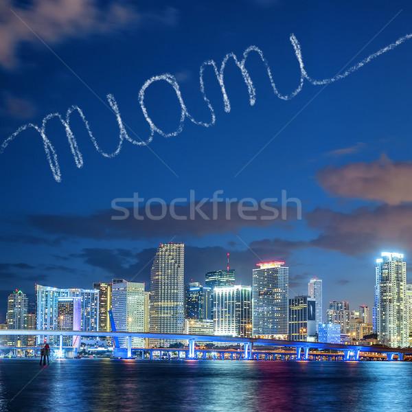 Miami égbolt Florida nyár naplemente panoráma Stock fotó © vwalakte