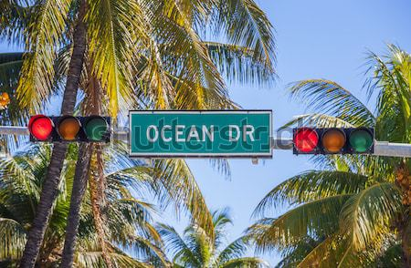 Famous Ocean Drive street sign Stock photo © vwalakte