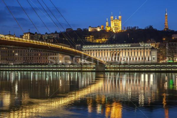 View fiume Lione notte Francia costruzione Foto d'archivio © vwalakte