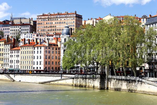 Színes épületek város Lyon utazás építészet Stock fotó © vwalakte