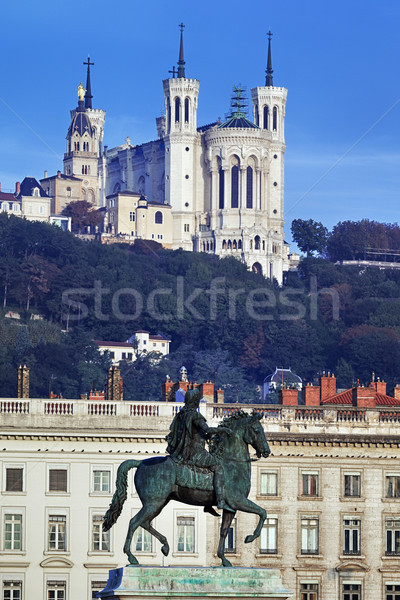 famous statue and Fourviere basilic Stock photo © vwalakte